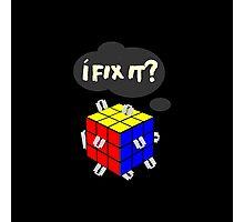 Rubik's Cube with razor blades! I fix it? Blood. Photographic Print
