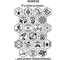 Ingress Achievements Black Photographic Print