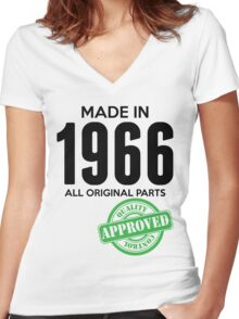 Made In 1966 All Original Parts - Quality Control Approved Women's Fitted V-Neck T-Shirt