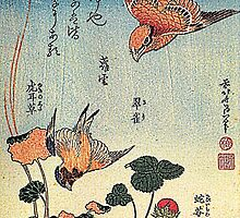 'Wild Strawberries and Birds' by Katsushika Hokusai (Reproduction)  by Roz Abellera Art Gallery