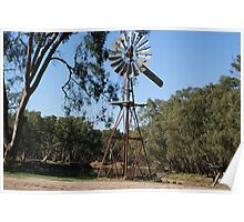 Windmill By A River, Swan Hill Vic. Poster