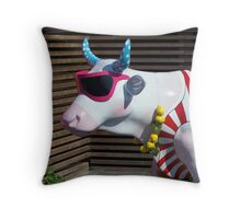 Painted Cow on Holiday - at Floriade Throw Pillow