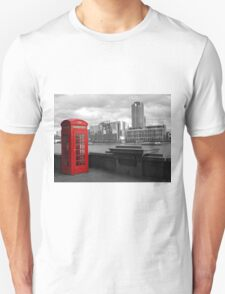 Traditional Red Telephone Box on Thames Embankment T-Shirt