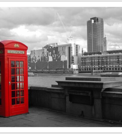 Traditional Red Telephone Box on Thames Embankment Sticker