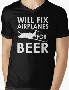Will Fix Airplanes for Beer, White text Mens V-Neck T-Shirt