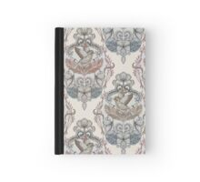 Woodland Birds - hand drawn vintage illustration pattern in neutral colors Hardcover Journal