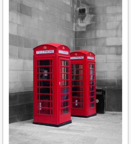 Two Traditional Red Telephone Boxes Sticker