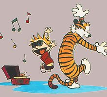 calvin and hobbes dancing with music by sogomug