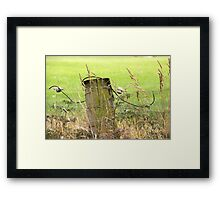 Electric Fence Post in Pasture Green Framed Print