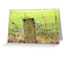 Electric Fence Post in Pasture Green Greeting Card