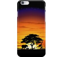 Wild Animals on African Savannah Sunset  iPhone Case/Skin