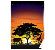 Wild Animals on African Savannah Sunset  Poster