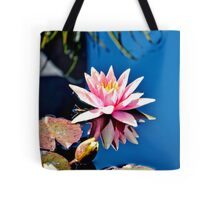 Pink Water Lily in Pool Tote Bag