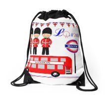 Cute London England Theme Red White Blue Drawstring Bag
