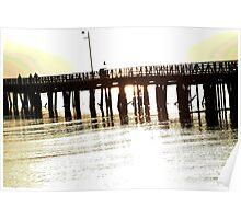 Sun through pier Poster