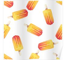 watercolor icecream popsicle seamless pattern Poster