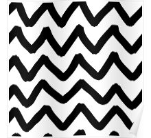Abstract background with zigzag brush strokes Poster