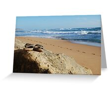 Desolate relaxing beach with flipflops Greeting Card