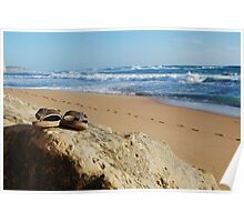Desolate relaxing beach with flipflops Poster