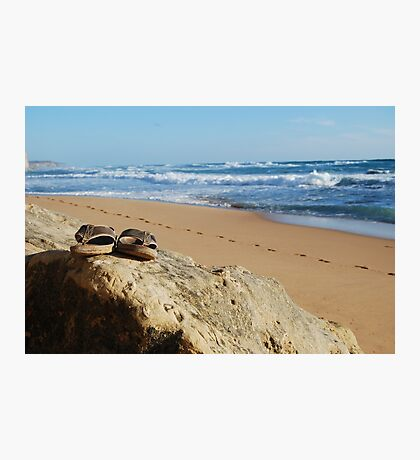 Desolate relaxing beach with flipflops Photographic Print