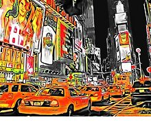 Times Square Taxis by Carlos Megino