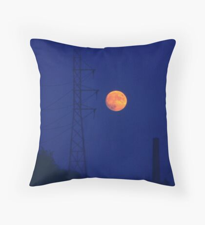 Moon and machines Throw Pillow