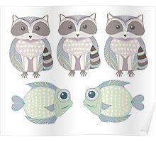 Three Raccoon and Two Fish Poster