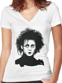Edward Scissorhands Women's Fitted V-Neck T-Shirt