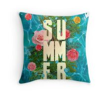 Summer collage with flowers and palm trees Throw Pillow