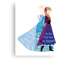 Elsa and Anna with Lyrics Canvas Print