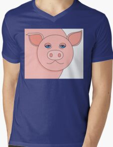 PIG PORTRAIT Mens V-Neck T-Shirt