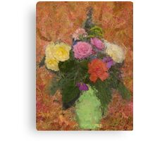 Flowers in a Green Vase Canvas Print