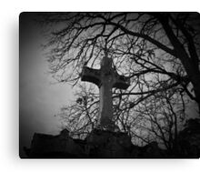 sheltered grave in black and white Canvas Print