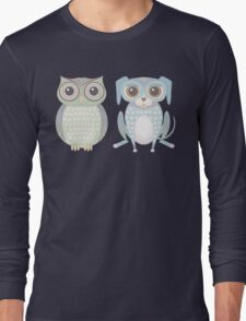 Cool Owl and Lanky Dog Long Sleeve T-Shirt