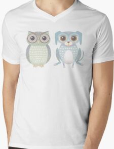Cool Owl and Lanky Dog Mens V-Neck T-Shirt