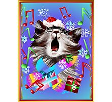 Christmas Carol Singing Kitty Photographic Print