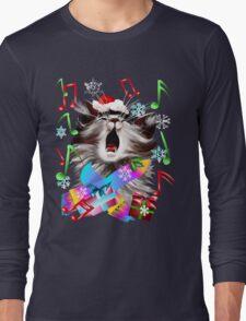 Christmas Carol Singing Kitty Long Sleeve T-Shirt