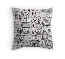 Alice in Wonderland Sketchbook Page 1 Throw Pillow