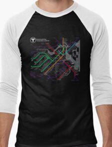 MBTA Boston Subway - The T Men's Baseball ¾ T-Shirt
