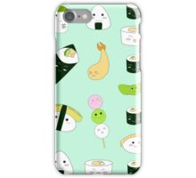 Kawaii Bento Box Print - Mint iPhone Case/Skin