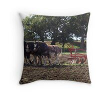 Four Clydesdales harrowing the field - Churchill Island, Easter 2010 Throw Pillow