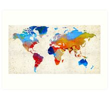 World Map 18 - Colorful Art By Sharon Cummings Art Print