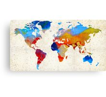 World Map 18 - Colorful Art By Sharon Cummings Canvas Print