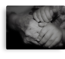 Generations Apart -Holding Hands- Canvas Print