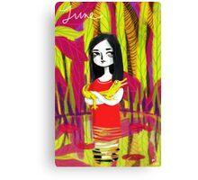 june & her crocodile Canvas Print