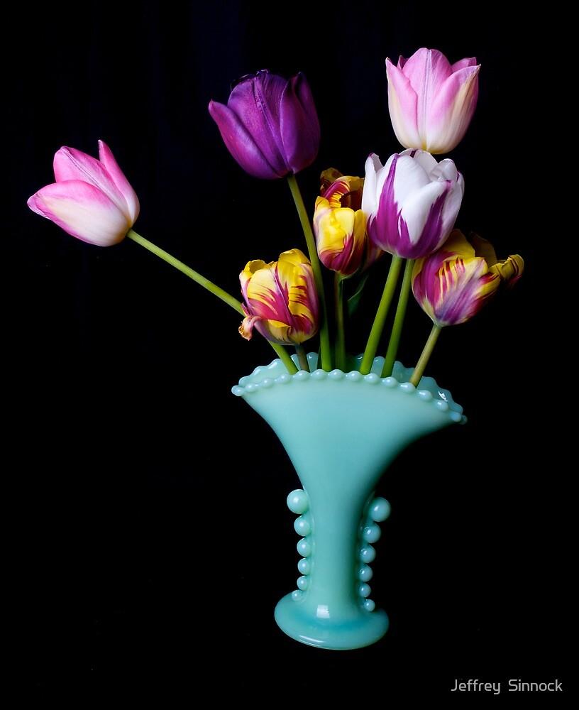 Tulips in a fancy vase by Jeffrey  Sinnock