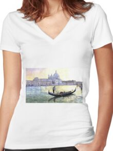 Italy Venice Morning Women's Fitted V-Neck T-Shirt