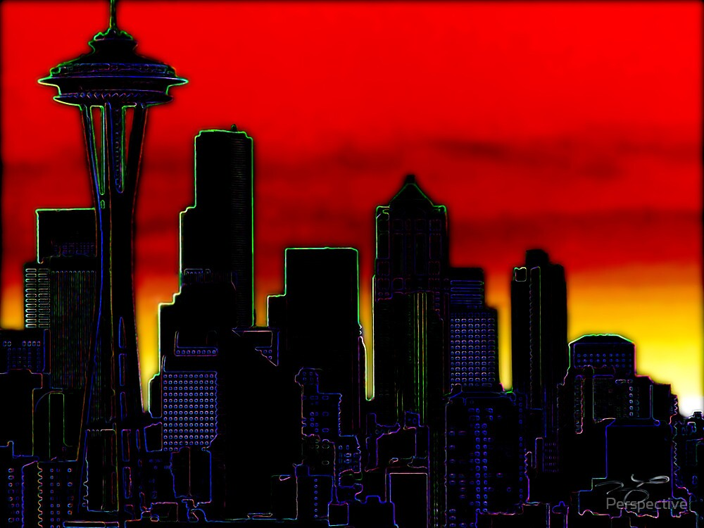 Neon Seattle Cityscape by Perspective