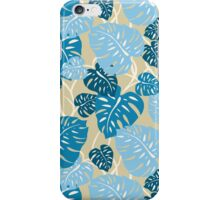Cliff Hanger Hawaiian Monstera Leaf - Denim blues and tan iPhone Case/Skin