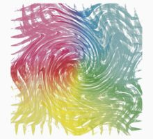 Rainbow Abstract Swirly Wave Crash Pattern One Piece - Short Sleeve